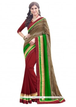 Bewildering Patch Border Work Designer Saree