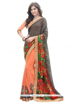 Radiant Multi Colour Patch Border Work Georgette Designer Saree