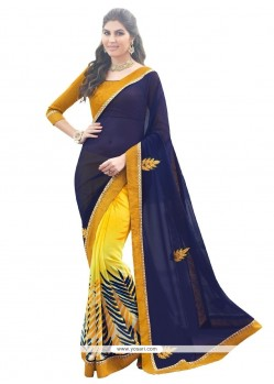 Navy Blue And Yellow Print Work Georgette Designer Saree