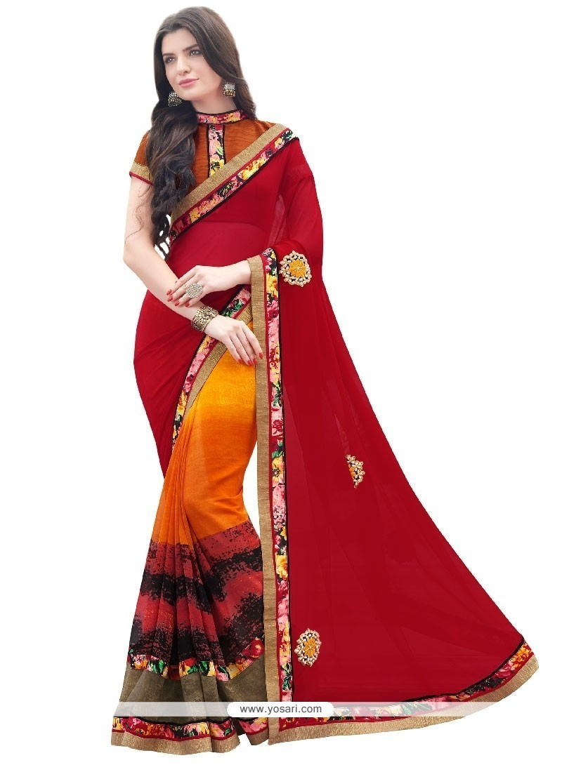 Dignified Georgette Embroidered Work Designer Saree