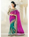 Teal And Magenta Shaded Brasso Half And Half Saree