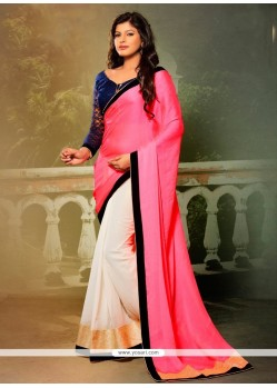 Fab Pink Georgette Designer Saree