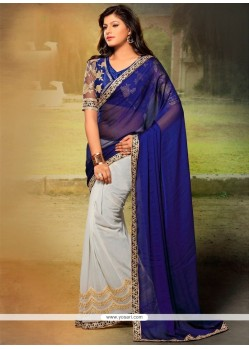 Navy Blue Patch Border Work Chiffon Satin Designer Saree