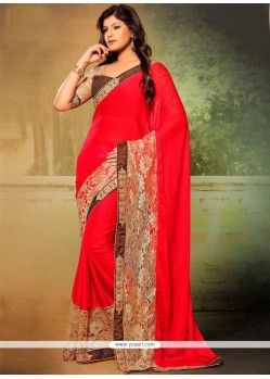 Impressive Patch Border Work Faux Chiffon Designer Saree