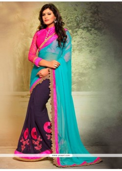 Astounding Faux Chiffon Patch Border Work Designer Saree