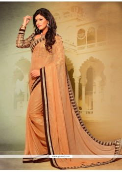Prepossessing Georgette Brown Designer Saree