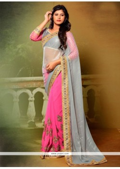 Extraordinary Georgette Patch Border Work Designer Saree