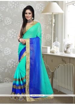 Capricious Georgette Blue Designer Saree