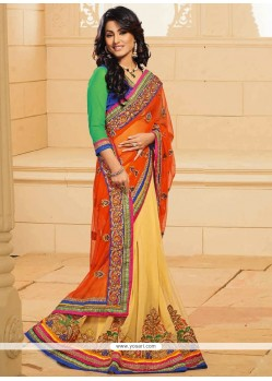 Marvelous Akshara Yellow And Orange Net Designer Saree