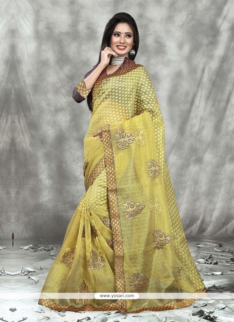 Brilliant Yellow Designer Saree
