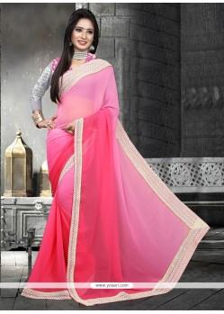 Pink Patch Border Work Faux Chiffon Designer Saree