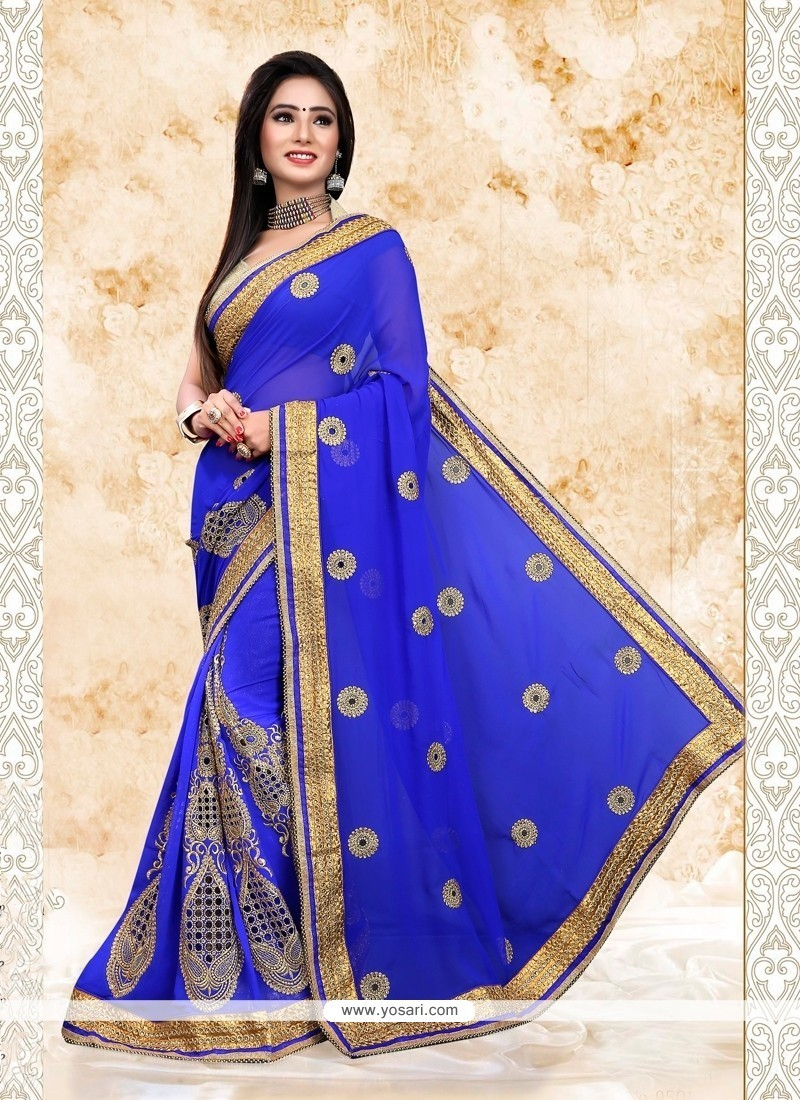 Whimsical Georgette Blue Patch Border Work Designer Saree