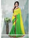 Strange Georgette Green And Yellow Patch Border Work Designer Saree