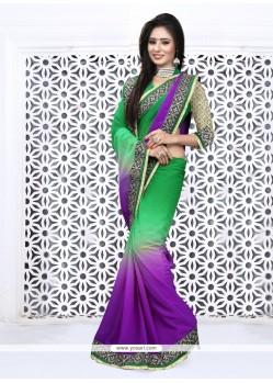 Vivid Patch Border Work Designer Saree