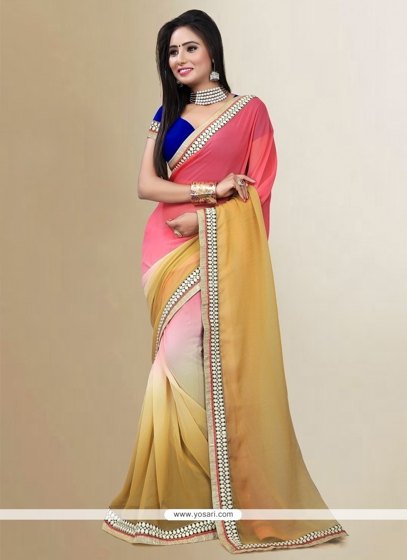 Glowing Multi Colour Patch Border Work Georgette Designer Saree