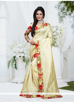 Adorning Silk Cream Patch Border Work Designer Saree