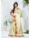 Adorning Silk Cream Patch Border Work Designer Saree