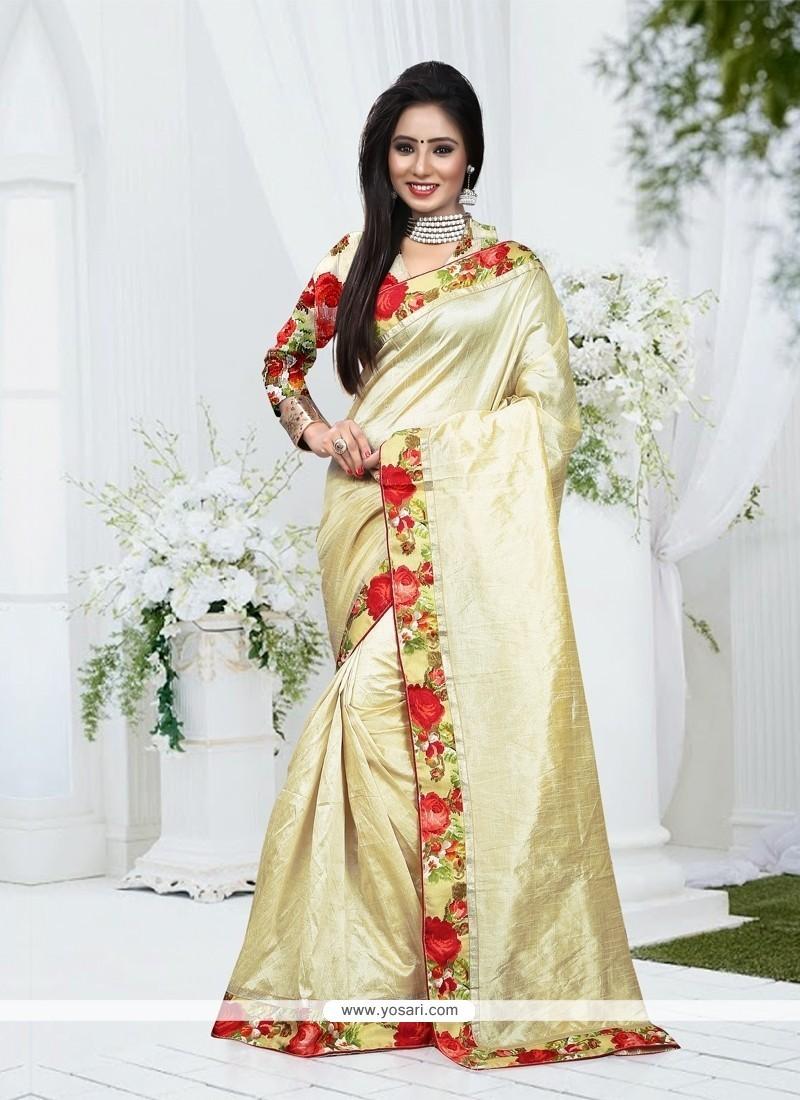 6a51ffc91f Shop online Adorning Silk Cream Patch Border Work Designer Saree