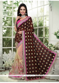 Remarkable Net Brown Designer Saree