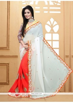 Beguiling Patch Border Work Jacquard Designer Saree