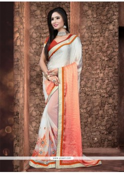 Elegant Cream Patch Border Work Net Designer Saree