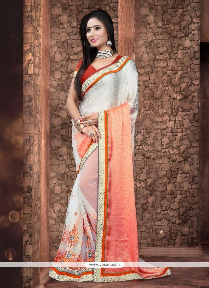 Elegant Cream Patch Border Work Net Designer Saree