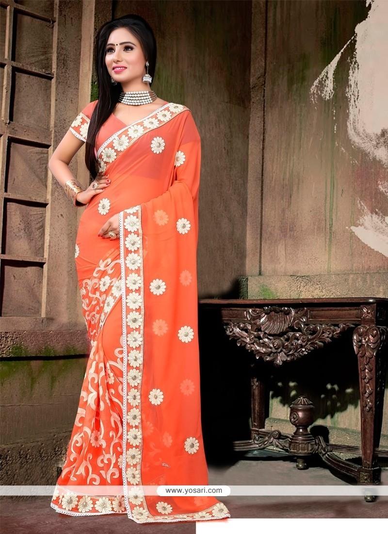 Majestic Georgette Orange Designer Saree