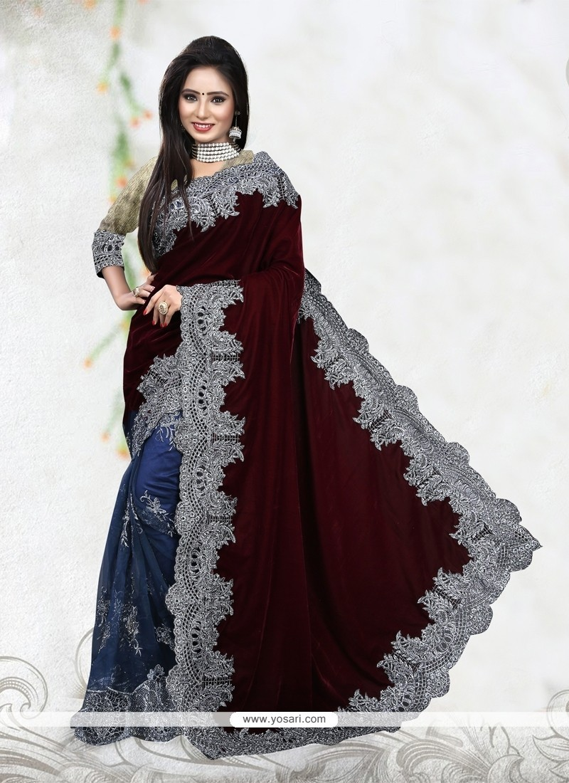 Aristocratic Net Patch Border Work Classic Designer Saree
