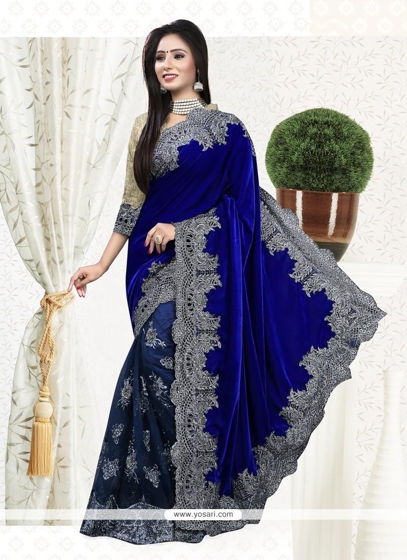 Mystical Embroidered Work Velvet Classic Designer Saree