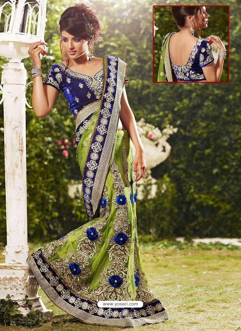 Aesthetic Green Net Lehenga Saree
