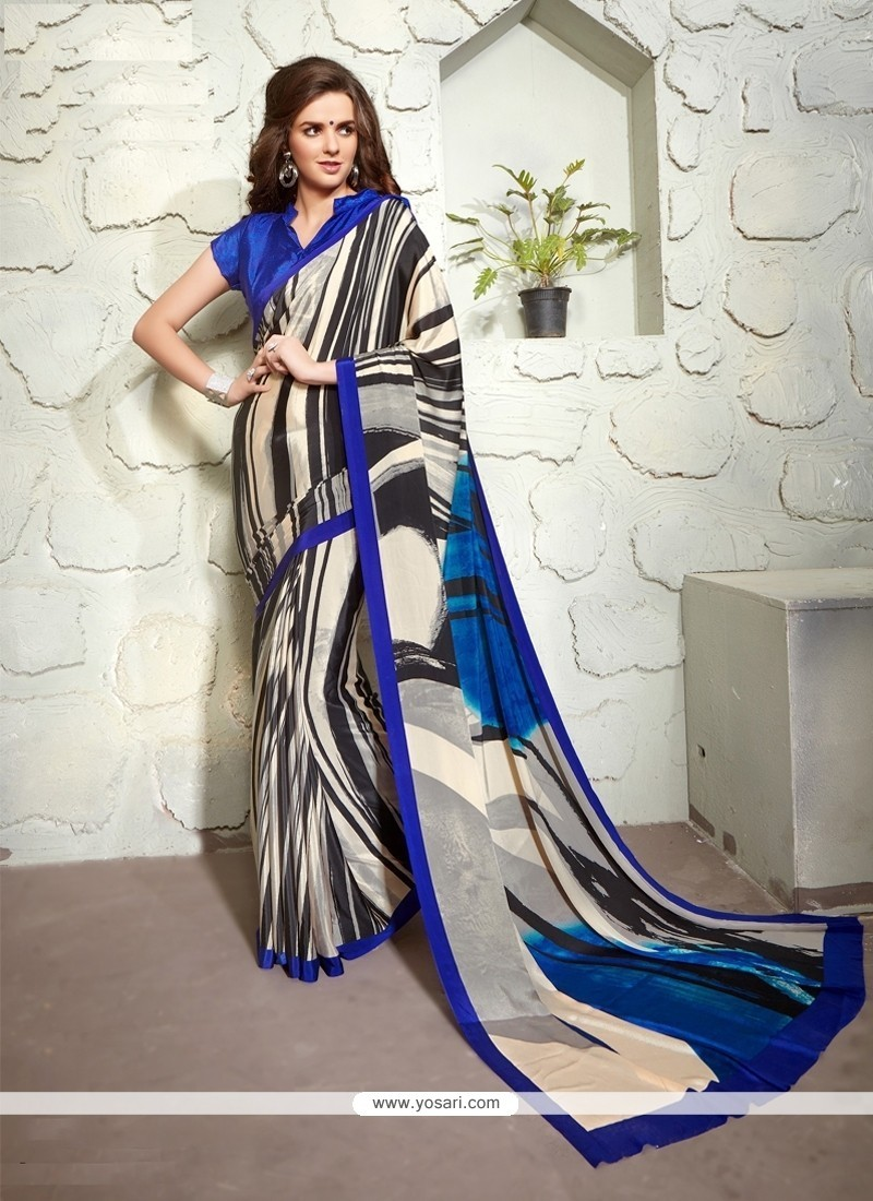 Fetching Faux Crepe Multi Colour Print Work Casual Saree