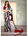 Staggering Faux Crepe Print Work Casual Saree