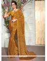 Awesome Faux Crepe Print Work Casual Saree
