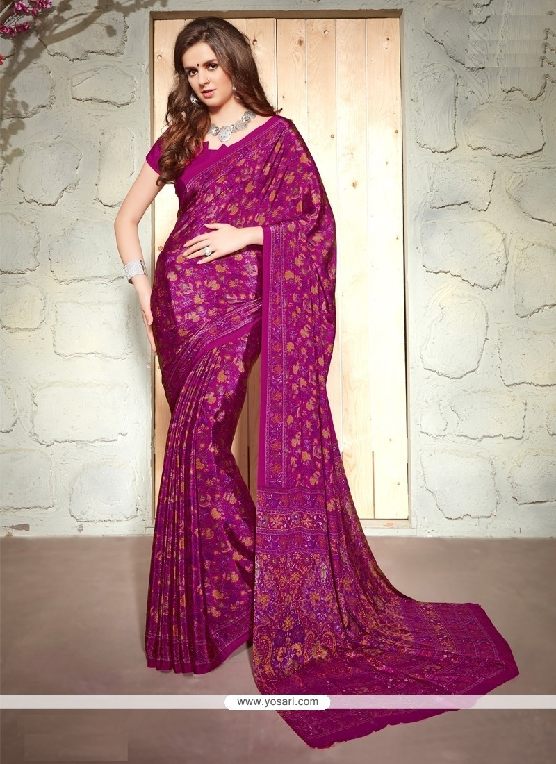 Lustrous Print Work Casual Saree
