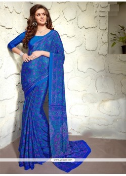Blue Print Work Faux Crepe Casual Saree