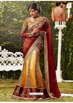 Exquisite Maroon Zari Embroidered Lehenga Saree