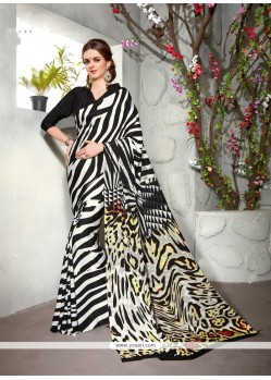 Pleasing Black Print Work Faux Crepe Casual Saree