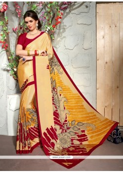 Dazzling Faux Crepe Print Work Casual Saree