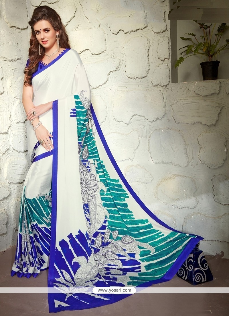 Off White Print Work Faux Crepe Casual Saree