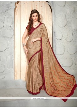 Flamboyant Faux Crepe Maroon Patch Border Work Casual Saree