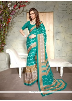 Hypnotizing Faux Crepe Print Work Casual Saree