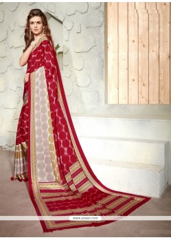 Appealing Faux Crepe Print Work Casual Saree