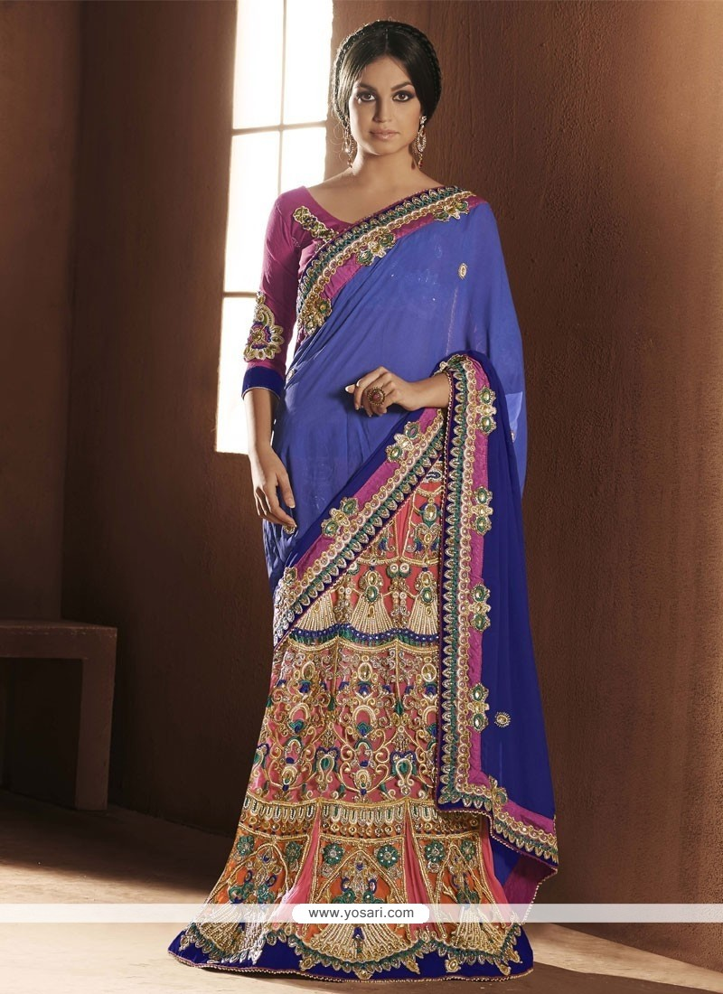 Jaaz Blue And Pink Faux Chiffon Lehenga Saree