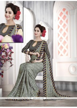 Outstanding Patch Border Work Faux Chiffon Casual Saree