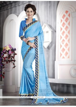 Remarkable Patch Border Work Turquoise Casual Saree