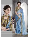 Customary Faux Chiffon Blue Patch Border Work Casual Saree