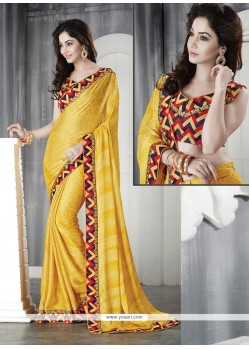 Charismatic Faux Chiffon Yellow Casual Saree