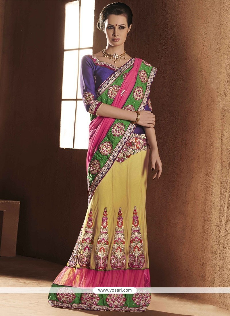 Multicolored Net Beads Work Lehenga Saree