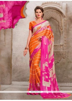 Charming Georgette Multi Colour Print Work Casual Saree