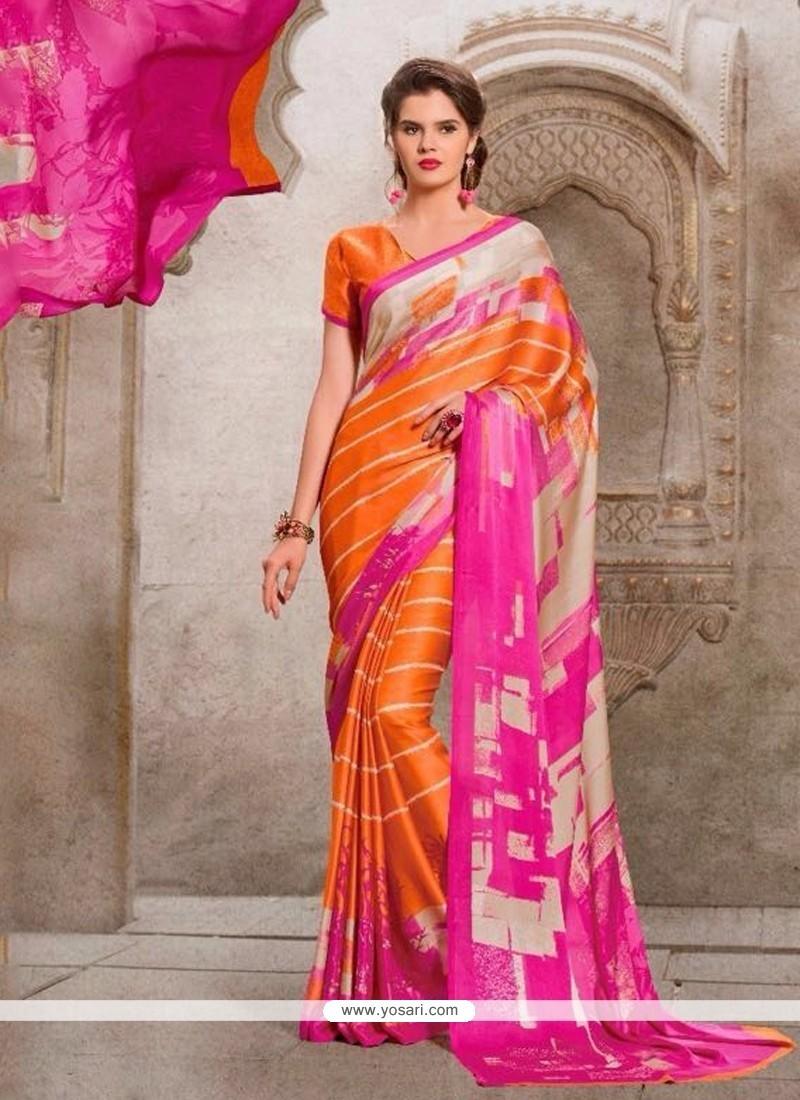Charming Georgette Multi Colour Print Work Casual Saree